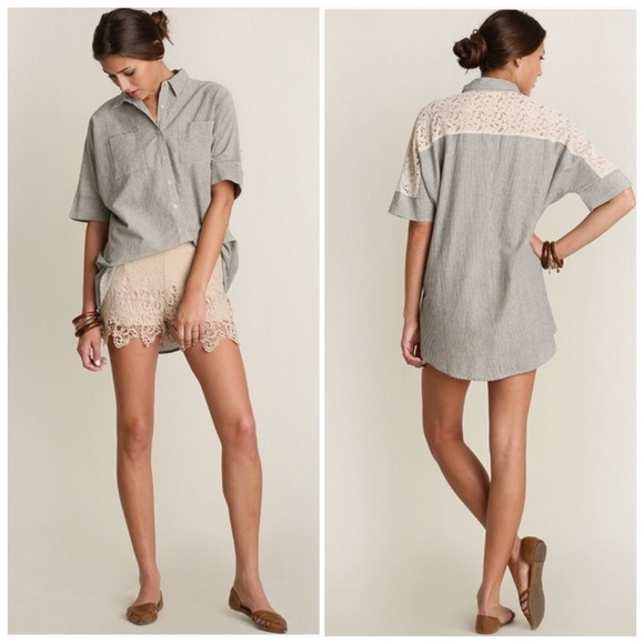 Tops - Short Sleeve Button Down Blouse with Lace Details